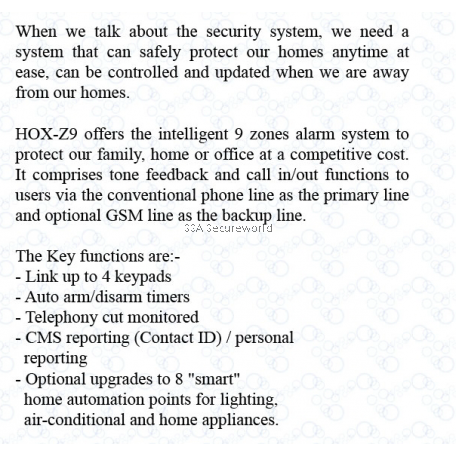 Hox Home Security Alarm System 9 Zone (Tone)