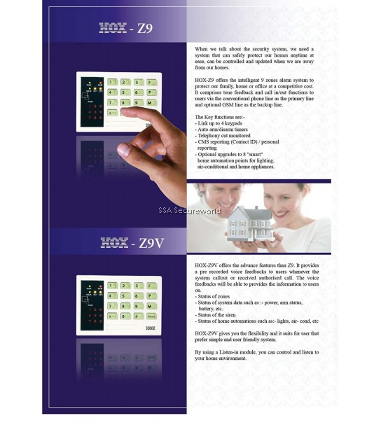 Hox 9 zone Alarm system (Voice)